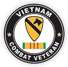 Military Vet Shop US Army 1st Cavalry Division Vietnam Combat Veteran Ribbon Window Bumper Sticker Decal 3.8