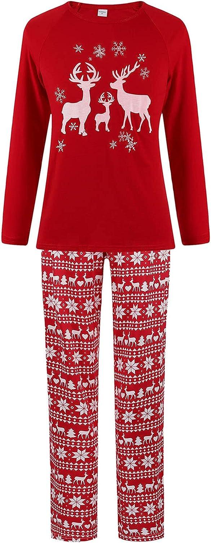 Goldweather Christmas Family Matching Pajamas Deer Print Long Sleeve Tops + Pants Xmas Pjs Sets Holiday Sleepwear Clothes