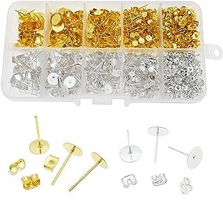 JJG 1 Box DIY 400 Pairs Stud Earrings Making Kit Earrings Posts Flat Pad (4mm+6mm+8mm+10mm) with 200 Pairs Earring Backs f...