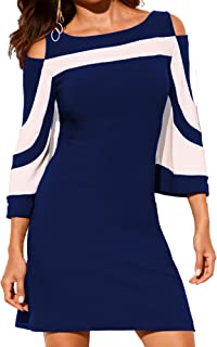 Women's Summer Casual Cold Shoulder Tunic Top T-Shirt 3/4 Sleeve Shirts Swing Dress