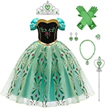 FYMNSI Mädchen Eiskönigin Anna Kostüm Kleid Kinder Prinzessin Cosplay Karneval Fasching Verkleidung Weihnachten Halloween ...