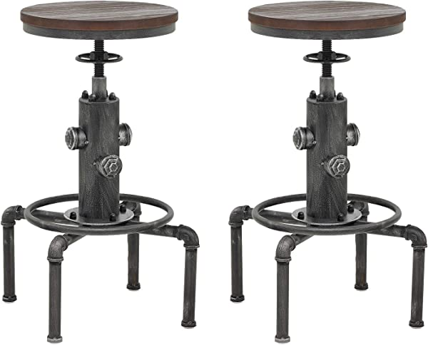 Topower American Antique Vintage Industrial Barstool Solid Wood Water Pipe Fire Hydrant Design Cafe Coffee Industrial Bar Stool Silver 2