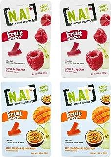 Nature Addicts Fruit Stick Snacks 2 Flavor Variety Bundle, (2) Pouches Each: Apple Raspberry, and Apple Mango Passion Fruit - 1.06 Ounces