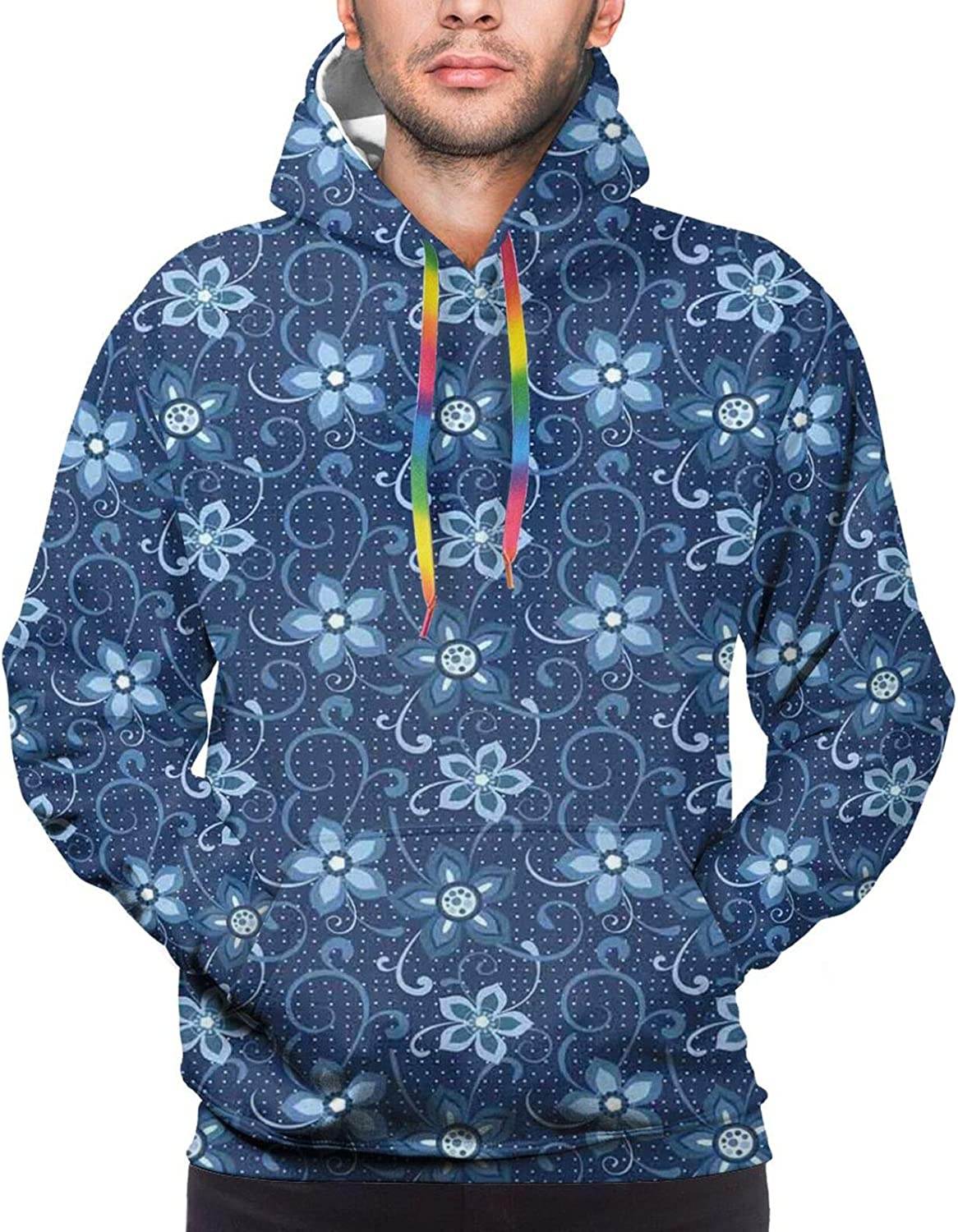 Men's Hoodies Sweatshirts,Polka Dotted Background with Floral Composition Curves and Swirls Abstract