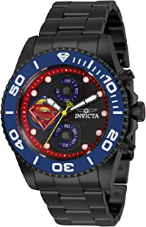 Men's DC Comics Quartz Watch with Stainless Steel Strap, Black, 22 (Model: 29065)
