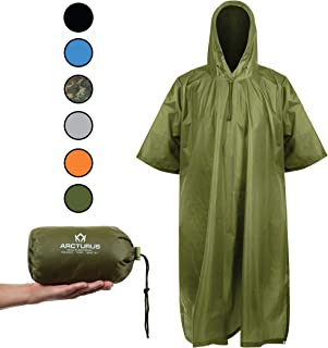 Arcturus Rain Ponchos for Adults: Lightweight Ripstop Nylon Poncho with Adjustable Hood for Men and Women. Large, Waterproof Jacket - Makes a Great Tarp, Backpacking Tent & Emergency Shelter