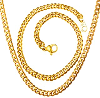 U7 Polished Cuban Curb Chain Men Women Daily Fashion Jewelry 18K Gold Plated Stainless Steel Necklace, 3mm/6mm/9mm/12mm Wide,Length 18-30 Inches, with Custom Engraving Service