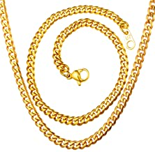 U7 Boys Men 18K Gold Plated Stainless Steel Cuban Curb Chain Necklace, 3mm/6mm/9mm/12mm Wide,Length 18-30 Inches, with Custom Engraving Service