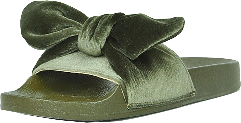 Refresh Footwear Women's Velvet Bow Slip On Slide Sandal