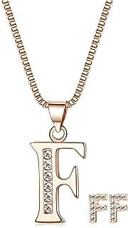 ORAZIO Initial Necklace Earrings for Women Girls Alphabet Letter A-Z Pendant Necklace Stud Earrings Jewelry Set
