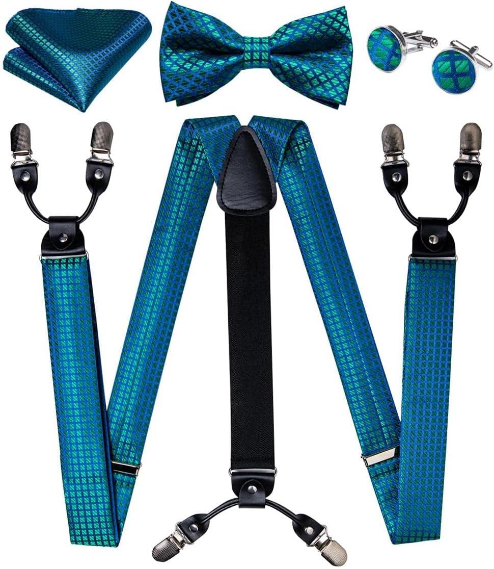 SKREOJF Men's Suspenders Bow Tie Set Silk Leather Metal 6 Clips Braces Men Fashion Wedding Suspender Men (Color : A, Size : Adjustable)