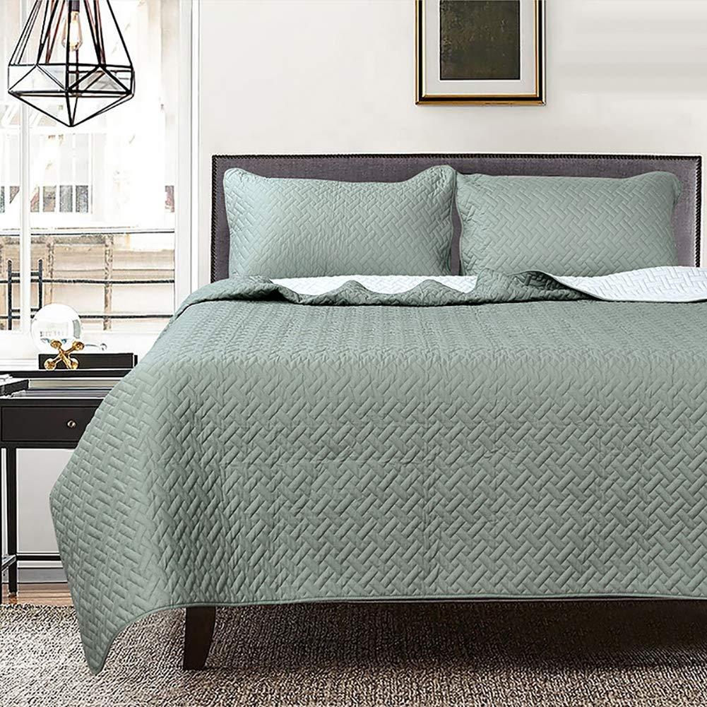 Reversible Bordado Juego de Cubrecama Algodón Acolchado Ligero Color sólido Set de Comodidad, Verde Oscuro, 200 x 220 cm (79 x 87 Pulgadas): Amazon.es: Hogar