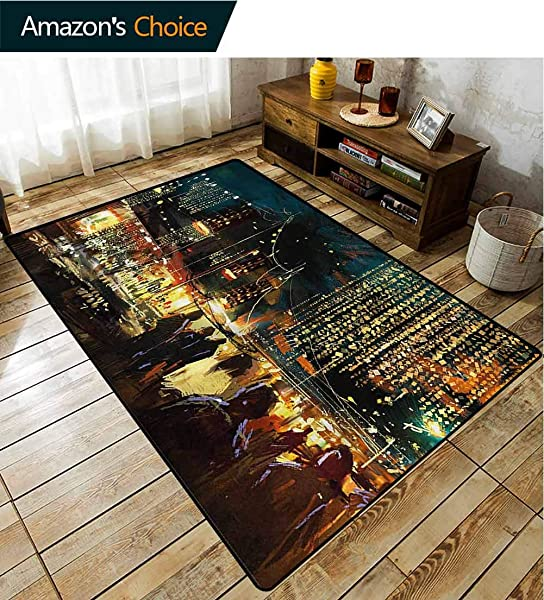 TableCoversHome Night Abstract Area Rug For Bedroom City Street Colorful Art Pattern Printing Rugs Fashionable High Class Living Dinning Room 2 X 6
