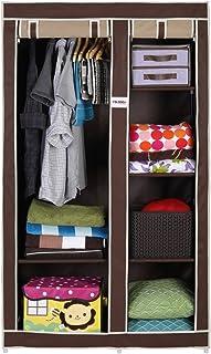 FOLDDON Non Woven Foldable Storage Double Door Design Wardrobe, Cupboard Closet with 6 Racks, 99.1 x 44.4 x 165.1cm (Beige...