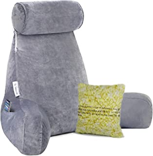 Extra Big Reading Pillow with Detachable Neck Roll, Bed Rest Pillow with Heighten Arms and Pockets, Memory Shredded Foam, Perfect for Back Support Sitting Up in Bed/floor While Relaxing, Gaming, Readi