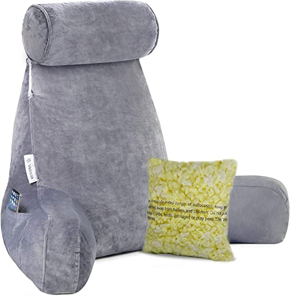 Extra Big Reading Pillow With Detachable Neck Roll Bed Rest Pillow With Heighten Arms And Pockets Memory Shredded Foam Perfect For Back Support Sitting Up In Bed Floor While Relaxing Gaming Readi