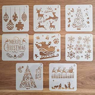 8Pcs Christmas Stencils Template - Reusable Plastic Craft Stencils for Art Drawing Painting Spraying Window Glass Door Wood Journal Scrapbook Car Body Holiday Xmas Snowflake DIY Decoration 5x5 inch