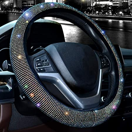 """Valleycomfy Steering Wheel Cover for Women Bling Bling Crystal Diamond Sparkling Car SUV Wheel Protector Universal Fit 15 Inch (Black with Colorful Diamond,Standard Size(14"""" 1/2-15"""" 1/4))"""