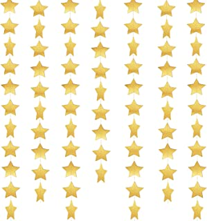 52 Feet Star Paper Garland Whaline Bunting Banner Hanging Decoration for Wedding Holiday Party Birthday, 2.75 Inches (Gold)
