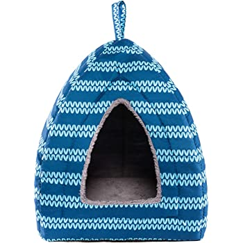 Hollypet Self-Warming 2 in 1 Foldable Comfortable Triangle Cat Bed Tent House, Moire