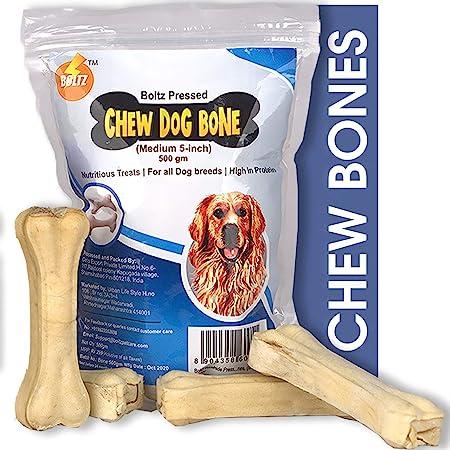 Boltz Rawhide Pressed Dog Chew Bone,5 Inch Size Bone (500 GM) -Made in India