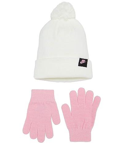 Nike Kids Pom Beanie and Gloves Two-Piece Set (Big Kids) (White) Snowboard Gloves