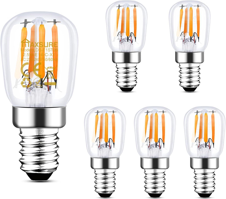 Maxsure Bombilla LED E14, 2.5W 260LM Blanco Cálido 2700K, Bombilla Nevera, Reemplazo por la lámpara halógena tradicional de 25W, Impermeable, para Nevera, Campana Extractora, Lámpara, 6 unidades