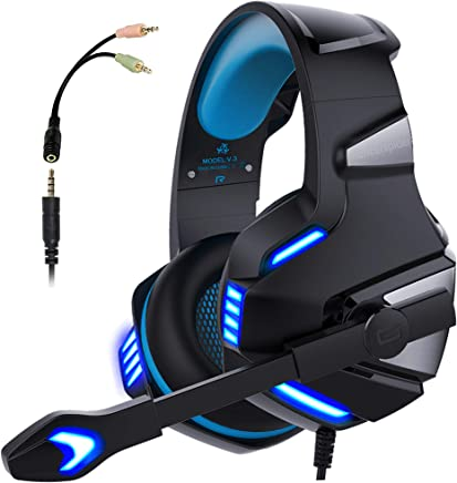 Micolindun V3blue Gaming Headset for PS4 Xbox One, Over Ear Gaming Headphones with Mic Stereo Surround Noise Reduction LED Lights Volume Control for Laptop, PC, Tablet, Smartphones, Blue