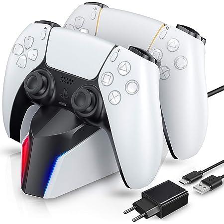 ECHTPower Caricatore Controller per PS5, Base di Ricarica per PS5 Controller, Ricarica Controller PS5 con Indicatore LED, PS5 Dual Controller Caricatore con 2 Porte di Ricarica di Tipo C