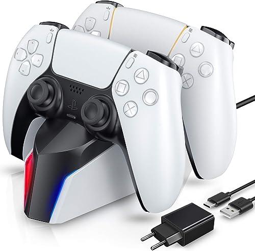 ECHTPower Chargeur Manette PS5, Station de Chargement avec Adaptateur Compatible avec Manettes DualSense Playstation ...