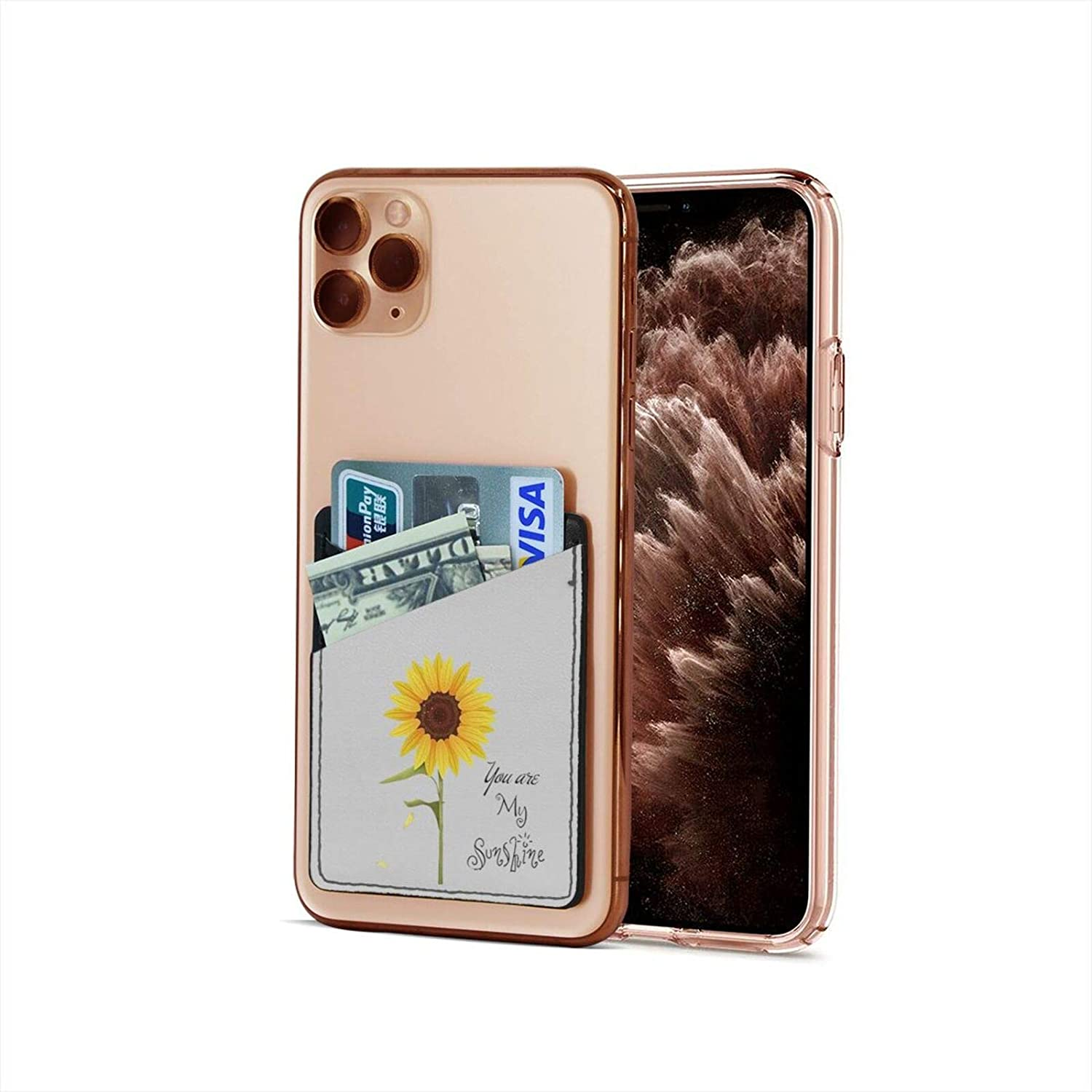 Cell Phone Card Holder, Phone Pocket Stick On Cell Phone Wallet Sleeve for Credit Card, Business Card Id and Keys Sunflower