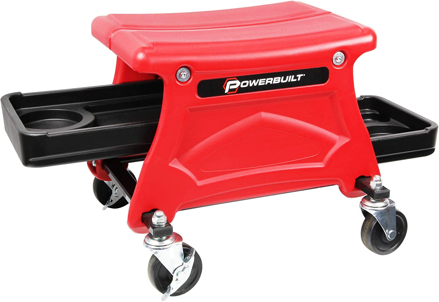 Powerbuilt Roller Seat with 2 Slide-Out Tool and Beverage Trays for Garage Smooth Rolling Ball Bearing Casters 300 lb Capacity for Brake Jobs, Detailing, Cleaning, Motorcycle, Gardening - 240283 : Automotive