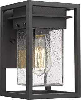Osimir 1 Light Outdoor Wall Lantern, Modern Exterior Wall Lamp Light in Black Finish with Bubble Glass Lamp Shade, Outdoor Wall Mount Light Fixture 2103-1W