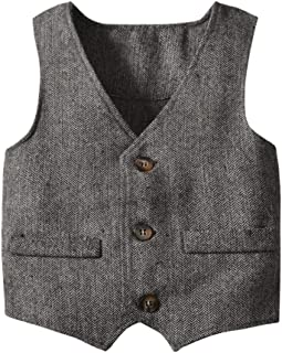 Coodebear Boys' Girls' Herringbone Grey Buttons V Collar Vests Coat (0-6 Years)