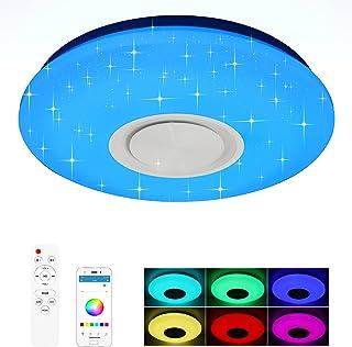 XDHEK Plafonnier LED ,Plafonnier LED Musique,Lampes De Plafond 24w Avec Hautparleur Bluetooth Télécommande APP Lampe Music...