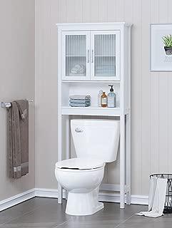 Spirich Home Bathroom Shelf Over The Toilet, Bathroom Cabinet Organizer with Moru Tempered Glass Door (White)