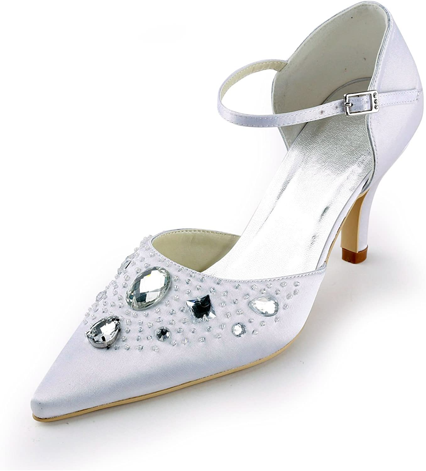 Zioso TMZ345 Women's Pointed Toe Satin Bridal Wedding Evening Formal Party Pumps shoes