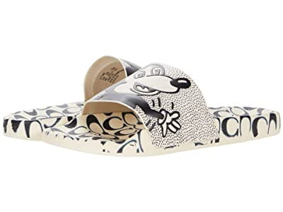 COACH Coach x Mickey Keith Haring Rubber Slide (White/Black Rubber) Women