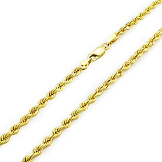 14k Yellow Gold Solid 3mm Diamond Cut Rope Chain Pendant Necklace, 16