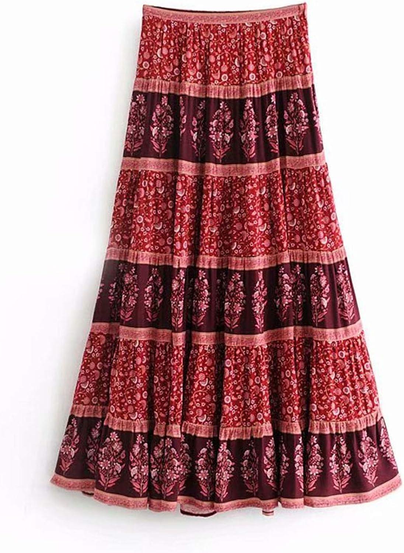goldsmyth Print Skirt Women Summer Maxi Skirts Casual Beach Long Gypsy Bohemian Retro Long Pleated Skirt
