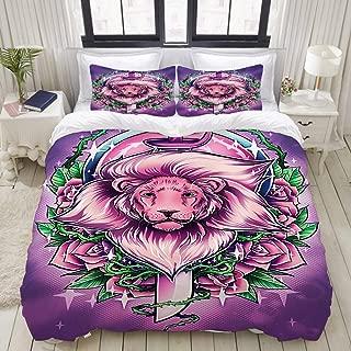 ZOMOY Duvet Cover Set, Drawing Rose Lion Sword Quartz, Decorative 3 Piece Bedding Set with 2 Pillow Shams