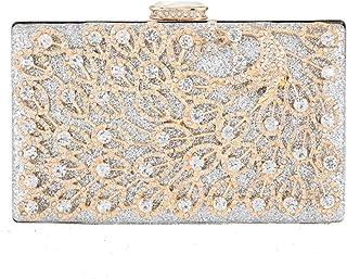 JUNfenghe Women's Shoulder Messenger Bag Luxury Diamond Openwork Phoenix Pattern Evening Package Wedding Gift Bridal Dress Clutch Bag Wallet Size: 20 * 5 * 13.5cm (Color : Silver)