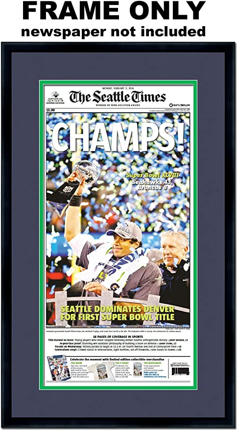 Amazon Com The Seattle Times Newspaper Frame With Seattle Seahawks Colors Double Mat Posters Prints