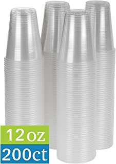 TashiBox 12 oz Clear Plastic Cups - Disposable Cold Drink Party Cups (200)