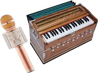 Makan Musicals Teak Wood Extra Height -9 Stops- 5 Main & 4 Drone, 3½ Octaves, Two Set Reed Bass/Male - 440Hz, Coupler, Gig Bag, Bhajan, Kirtan, Shruti, Mantra Hand Pumped Harmonium