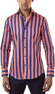Men's Formal Navy & Orange Bengal Stripe Slim Fit Shirt