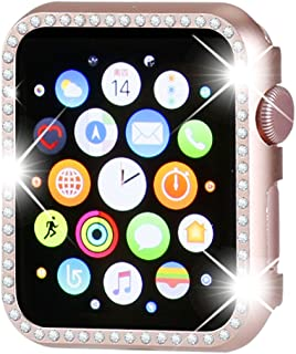 Henstar Compatible with Apple Watch Case 42mm,Compatible with iWatch Face Bling Crystal Diamonds Plate Cover Protective Frame Compatible with Apple Watch Series 3/2/1 (Rose Gold-Diamond, 42mm)