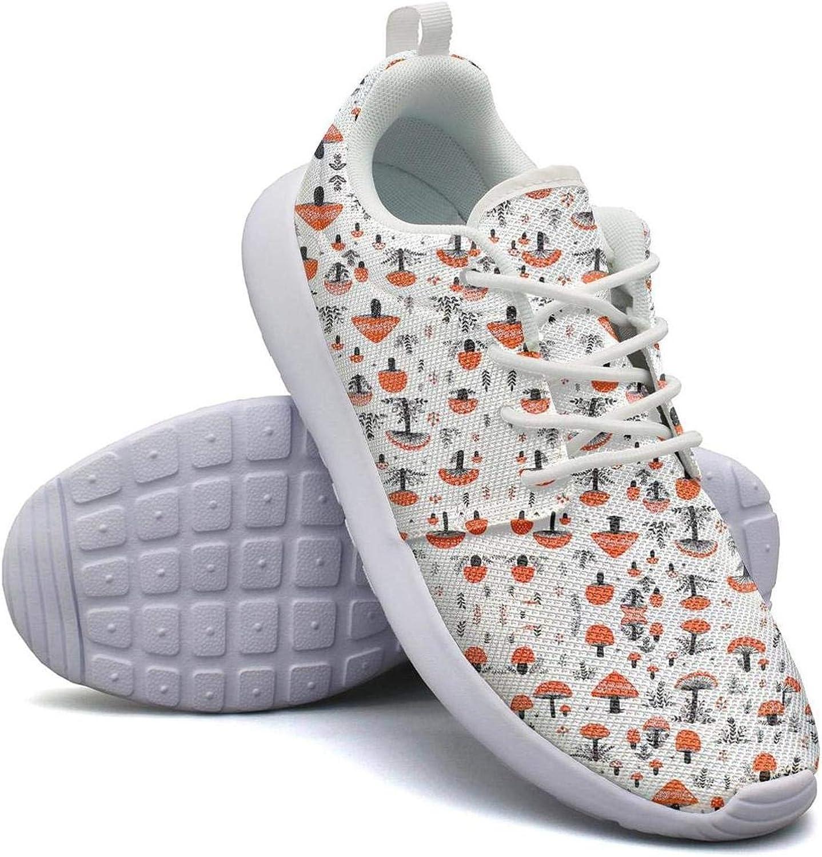 CHALi99 Fashion Ladies Lightweight Mesh shoes Drawing Mushrooms Sneakers Walking Soft Sole