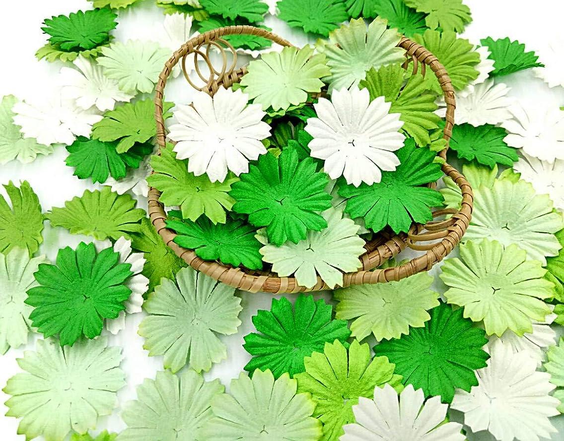 NAVA CHIANGMAI 100 pcs Daisy Mulberry Paper Flower Petals Artificial Craft Scrapbooking Embellishment,Wedding Supply Accessory DIY,Assorted Color Petal Flower (Green)