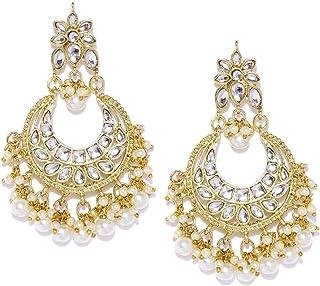 ZAVERI PEARLS Gold Tone 22K Gold Plated Metal Kundan & Pearls Dangle Earring For Women-ZPFK8653